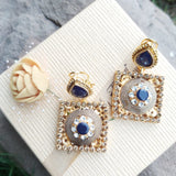 Stylish Gold Plated Stones Square Shape Traditional Earrings for Women And Girls-540077