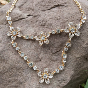 Clear Crystal Short Floral Necklace For Girls-150024