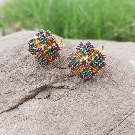 Punk Vintage Multicolor Stud Earrings With Golden Gun Square-540025