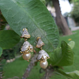 Golden plated Jhumka earrings with pearl drop and Crystals on stud-740022
