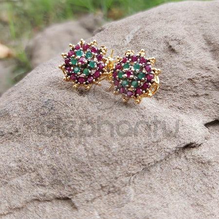 Ethnic Crystal Round Multi-color Designer Small Stud Earrings For Women-540018