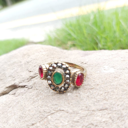 Vintage Antique Ruby & Pearl Unique Engagement  Ring-1050011