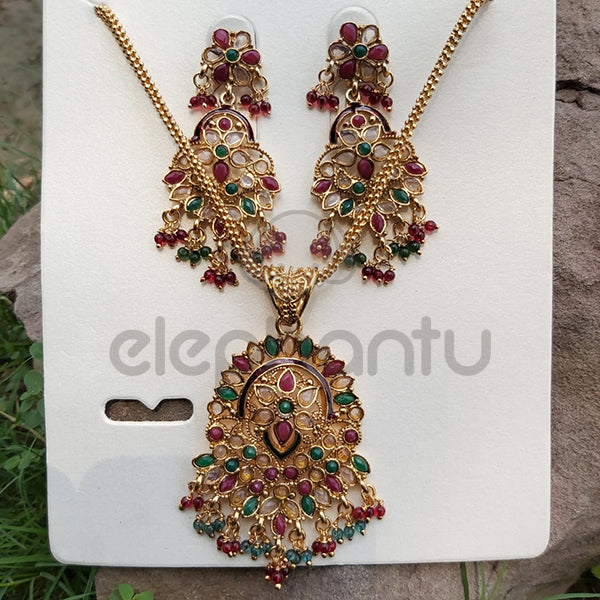 Neckless & Earrings Jewelry Set With Multicolor stones For Women-610005