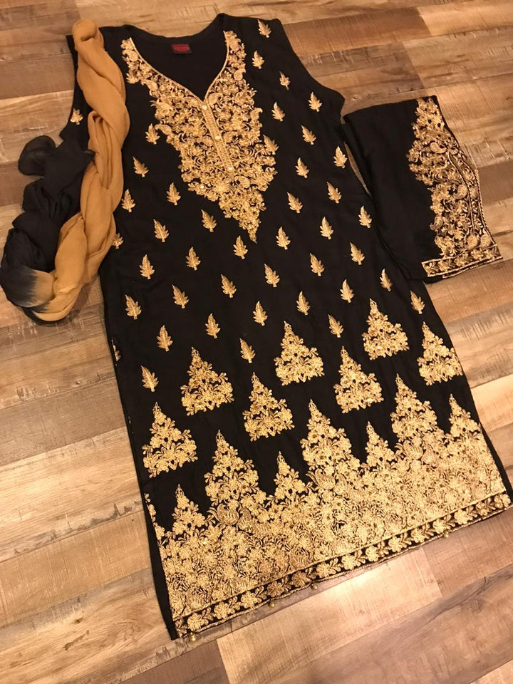 3 Piece Black Suit with Gold Copper Tilla Embroidery