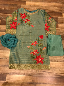 Handwork Embroidered Sea Blue Masoori Dress