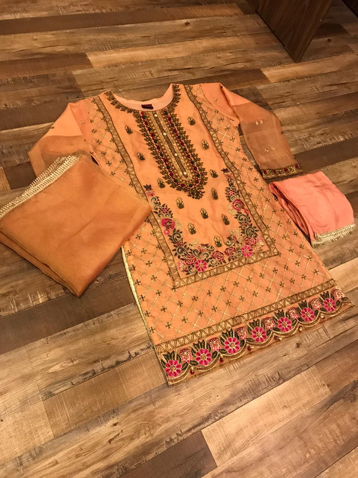 3 Piece Stitched Multi Colored Embroidered Suit