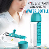 2 in 1 Pill and Vitamin Medicine Organizer Water Bottle