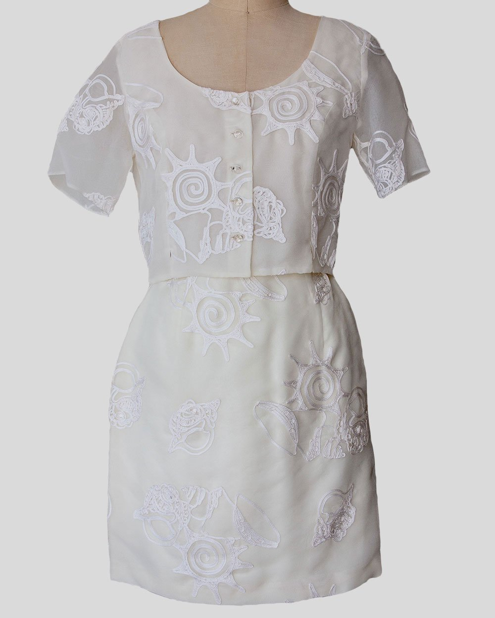 Vintage, Cream Two Piece Lace Embroidered Top and Skirt