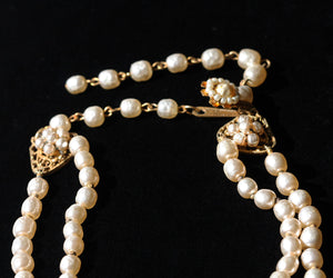 Vintage Signed Miriam-Haskell Faux Pearl Necklace Designed by Frank Hess