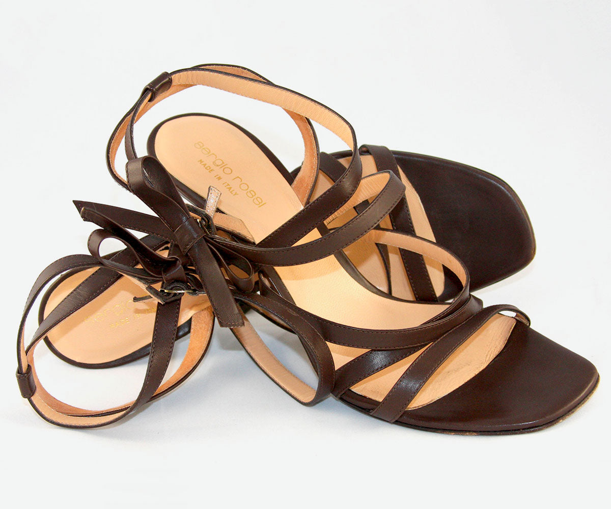 Original Sergio Rossi, Brown Leather Strappy High-Heels/Sandals