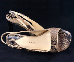 Ralph Lauren Natural Snakeskin Open Toe Stiletto