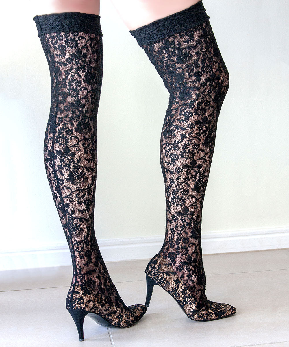 Vintage Anne Klein, Sexy Black Lace, Thigh High Stocking Shoe Boots