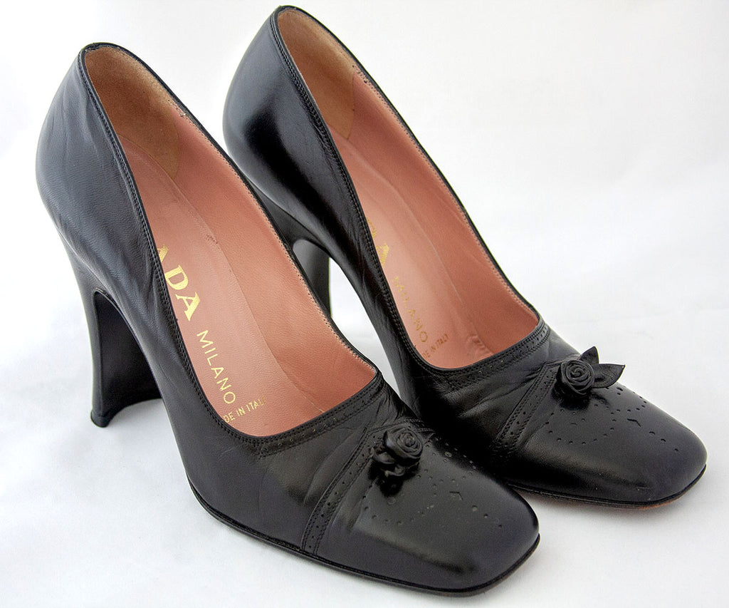 Vintage Prada Black Leather Pumps│Court Shoe