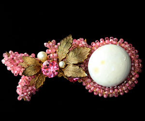 Vintage Signed Miriam Haskell Pink Brooch
