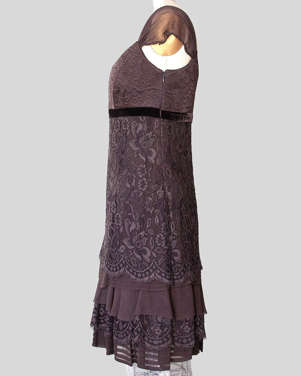 Elie Tahari, Silk and Chiffon, Lace and Embroidered Dress