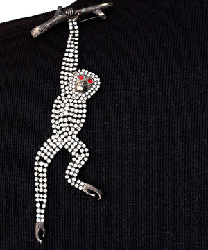 Vintage Signed Butler & Wilson Clear Crystal/Diamante Monkey Brooch