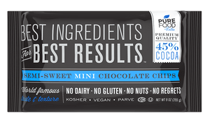 Semi-Sweet Mini Chocolate Chips Case of 24 - 9 OZ - Pure Food by Estee