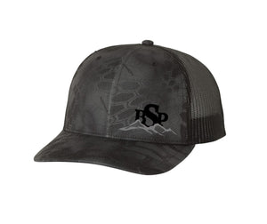Backcountry Sled Patriots 112 Richardson Snap Back Trucker Cap Kryptek Typhon/Charcoal logo left panel