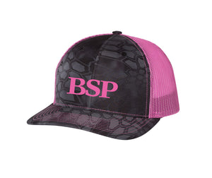 Backcountry Sled Patriots 112 Richardson Snap Back Trucker Cap Kryptek Typhon/Neon Pink