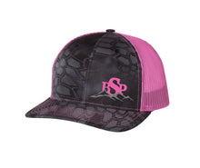 Load image into Gallery viewer, Backcountry Sled Patriots 112 Richardson Snap Back Trucker Cap Kryptek Typhon/Neon Pink logo left panel
