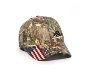 Backcountry Sled Patriots Outdoor Camp Cap with American Flag logo left panel