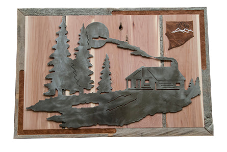 Backcountry Sled Patriots Metal artwork on Cedar Wood