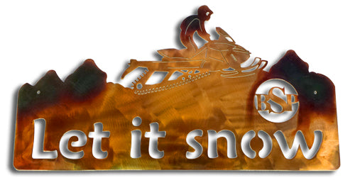Backcountry Sled Patriots Metal artwork Let it Snow