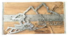 Load image into Gallery viewer, Backcountry Sled Patriots Metal artwork on Barn Wood