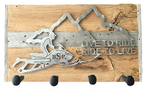 Backcountry Sled Patriots Metal artwork on Wood with Railroad Spikes