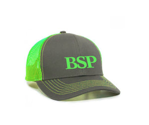 Backcoutry Sled Partiots neon green cap with logo in center