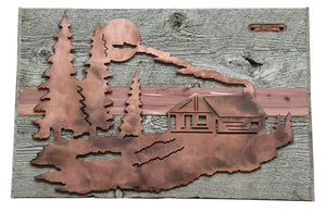 Backcountry Sled Patriots Metal artwork on Barn Wood