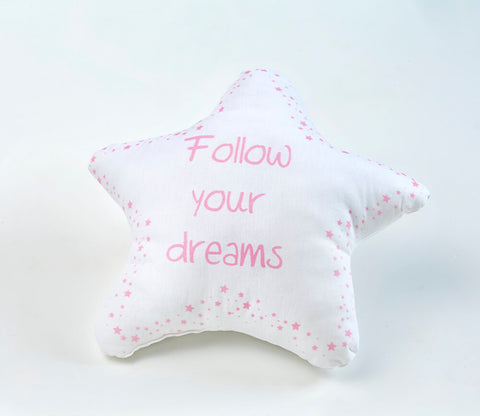 Follow Your Dreams Pink Dekoratif Yastık Şekilli