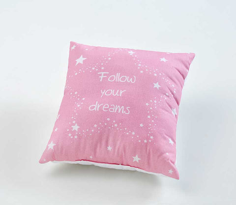 Follow Your Dreams Pink Dekoratif Kare Yastık