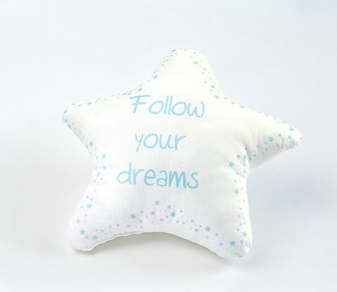 Follow Your Dreams Blue Dekoratif Yastık Şekilli