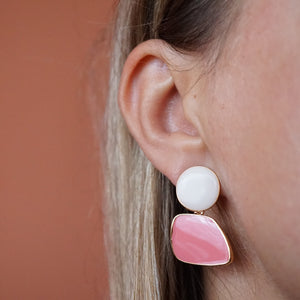 Korean Pink and White Acrylic Drop Dangle Earrings - The Gem Cutter