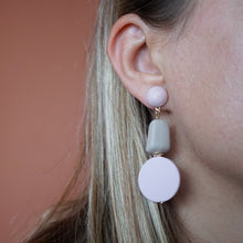 Load image into Gallery viewer, Korean Pink Resin Dangle Drop Geometric Earrings - The Gem Cutter