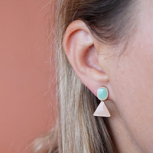 Korean Pink and Blue Acrylic Dangle Drop Earrings - The Gem Cutter