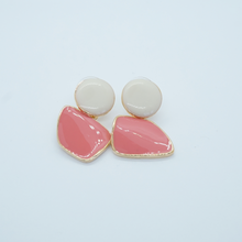 Load image into Gallery viewer, Korean Pink and White Acrylic Drop Dangle Earrings - The Gem Cutter