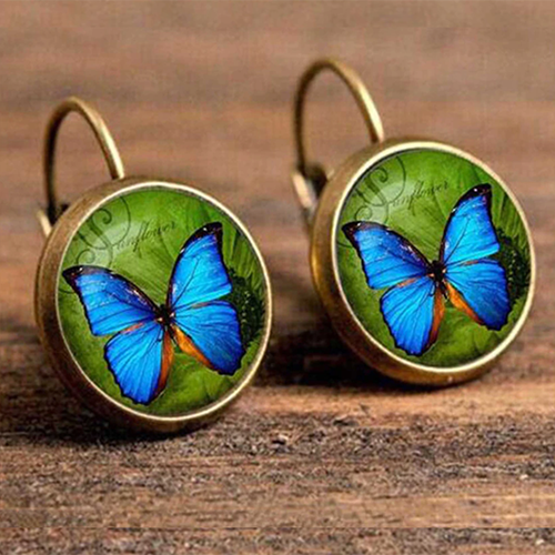 Blue Butterfly Vintage Boho Round Drop Earrings - The Gem Cutter