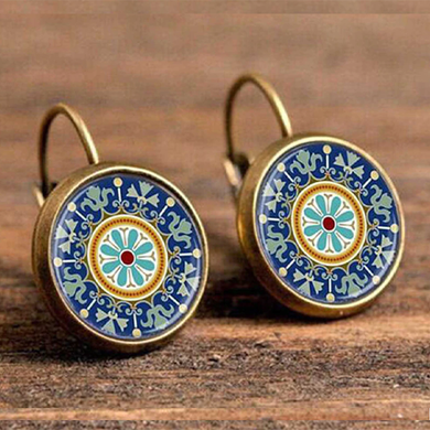 Blue Geometric Pattern Round Boho Drop Earrings - The Gem Cutter