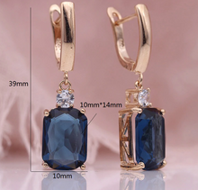 Load image into Gallery viewer, Sea Blue Square Rose Gold Natural Zircon Dangle Earrings - The Gem Cutter