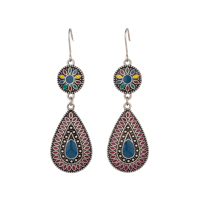 Teardrop Bohemian Earrings with Red and Blue Drops - The Gem Cutter