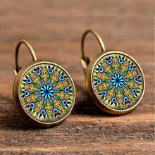 Load image into Gallery viewer, Blue & Yellow Psychedelic Vintage Boho Drop Earrings - The Gem Cutter