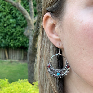 Half Moon Bohemian Earrings with Red and Blue Cabochons - The Gem Cutter