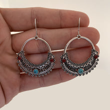 Load image into Gallery viewer, Half Moon Bohemian Earrings with Red and Blue Cabochons - The Gem Cutter
