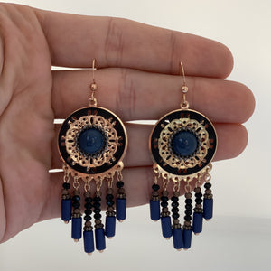 Blue Agate Bohemian Earrings with Beads - The Gem Cutter