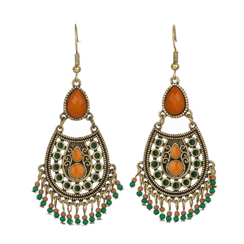 Bohemian Earrings with Brown and Green Beads - The Gem Cutter