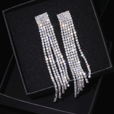 Rhinestone Crystal Long Tassel Earrings for Women Bridal Drop Dangling Earrings - The Gem Cutter