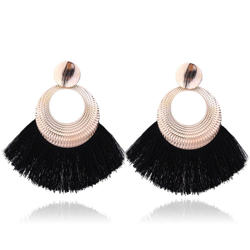 Black Long Tassel Statement Dangle Earrings - Bohemian Fringe Vintage Earring - The Gem Cutter
