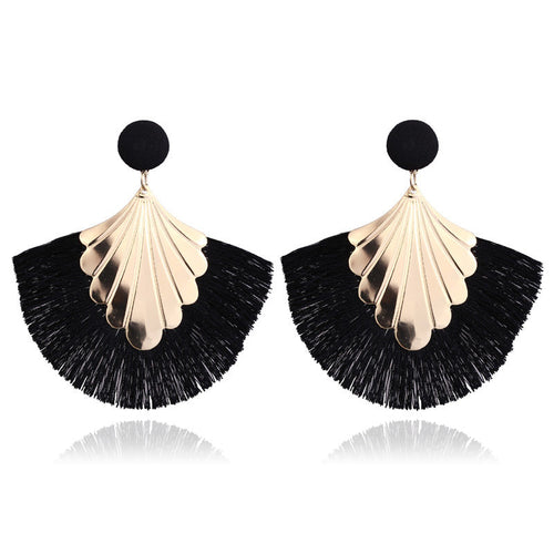Black Long Tassel Shield Statement Dangle Earrings - Bohemian Fringe Vintage Earring - The Gem Cutter